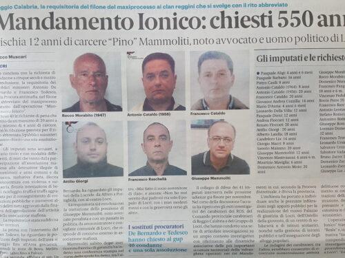 550 ANNI DI CARCERE PER LE COSCHE DELLA JONICA: RICHIESTA PENE IN ABBREVIATO