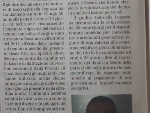 GIORGI CONDANNATO PER TENTATO OMICIDIO A 6 ANNI DI RECLUSIONE.