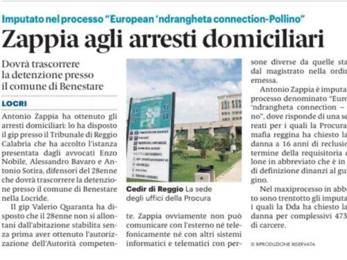 OP. EUROPEAN NDRANGHETA CONNECTION – POLLINO: ZAPPIA ANTONIO AI DOMICILIARI