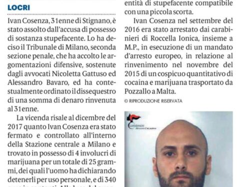 MILANO: ASSOLTO IVAN COSENZA. LA DETENZIONE NON PROVA LO SPACCIO